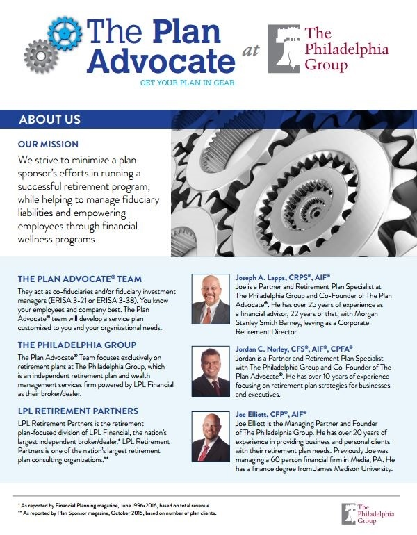 The Plan Advocate At The Philadelphia Group  About